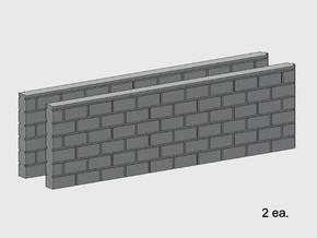 Block Wall - Butt Wall - L2 in White Natural Versatile Plastic: 1:87 - HO