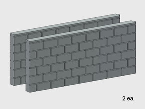 Block Wall - Butt Wall - M2 in White Natural Versatile Plastic: 1:87 - HO