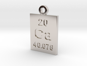 Ca Periodic Pendant in Rhodium Plated Brass