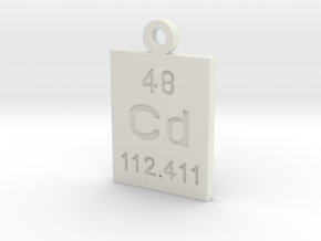 Cd Periodic Pendant in White Natural Versatile Plastic