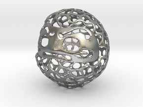 Voronoi Daruma Doll in Natural Silver