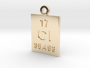 Cl Periodic Pendant in 14k Gold Plated Brass