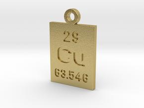 Cu Periodic Pendant in Natural Brass
