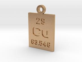 Cu Periodic Pendant in Natural Bronze