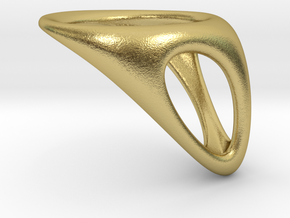 CUBE 06 RING F in Natural Brass
