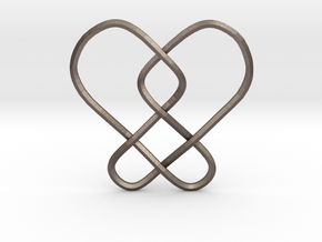 2 Hearts Knot Pendant in Polished Bronzed-Silver Steel