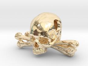 Skull and Crossbones Pendant in 14k Gold Plated Brass