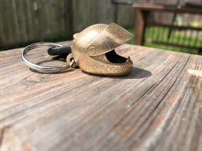 Motorcycle Helmet Keychain in Polished Bronzed-Silver Steel