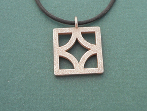 Breeze Block Pendant #3 -  Polished Steel in Polished Bronzed-Silver Steel