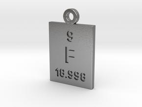 F Periodic Pendant in Natural Silver