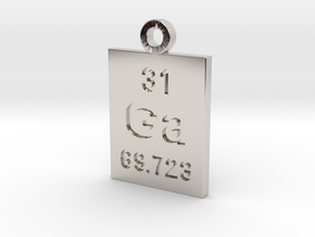 Ga Periodic Pendant in Rhodium Plated Brass