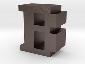 """B"" inch size NES style pixel art font block in Polished Bronzed-Silver Steel"