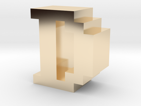 """D"" inch size NES style pixel art font block in 14K Yellow Gold"