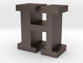 """H"" inch size NES style pixel art font block in Polished Bronzed-Silver Steel"