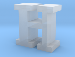 """H"" inch size NES style pixel art font block in Smooth Fine Detail Plastic"