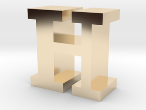 """""""H"""" inch size NES style pixel art font block in 14K Yellow Gold"""