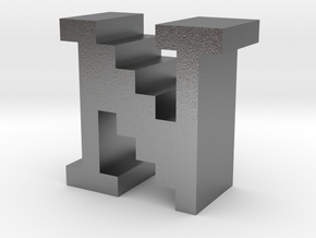 """""""N"""" inch size NES style pixel art font block in Natural Silver"""