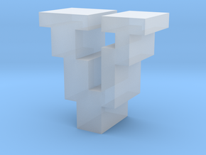 """""""V"""" inch size NES style pixel art font block in Smooth Fine Detail Plastic"""