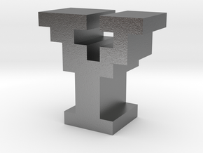 """""""Y"""" inch size NES style pixel art font block in Natural Silver"""