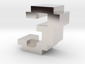 """""""3"""" inch size NES style pixel art font block in Rhodium Plated Brass"""