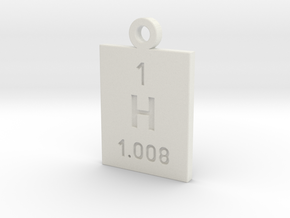 H Periodic Pendant in White Natural Versatile Plastic