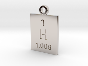 H Periodic Pendant in Rhodium Plated Brass