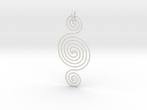 Triple Spiral Pendant in White Natural Versatile Plastic