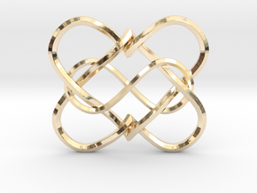 2 Hearts Infinity Pendant in 14k Gold Plated Brass
