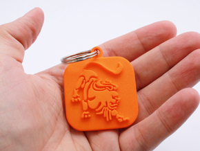 Keychain zodiac Lion (single color) in Orange Strong & Flexible Polished