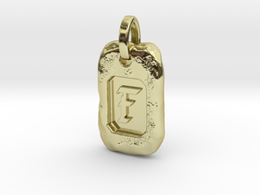 Old Gold Nugget Pendant F in 18k Gold Plated Brass