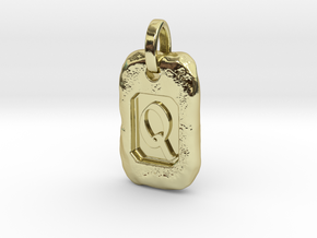 Old Gold Nugget Pendant Q in 18k Gold Plated Brass