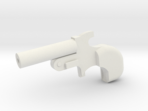 Miniature Derringer Handgun - 10cm in White Natural Versatile Plastic