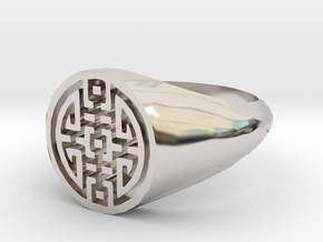 Happiness - Lady Signet Ring in Rhodium Plated Brass: 3 / 44