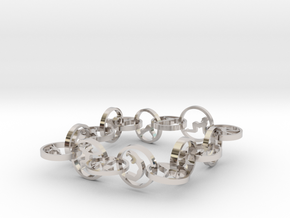 bracelet with 16 yoga poses (6) in Rhodium Plated Brass