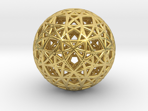 Omega Matter  Seed of  Life Cube in Polished Brass
