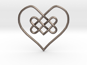 Knotty Heart Pendant in Polished Bronzed-Silver Steel