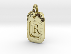 Old Gold Nugget Pendant R in 18k Gold Plated Brass