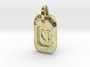 Old Gold Nugget Pendant U in 18k Gold Plated Brass