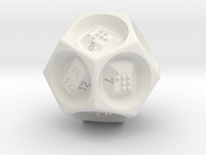 D12 Dice - Braille in White Natural Versatile Plastic