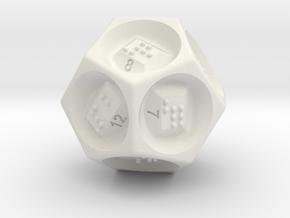 D12 Dice - Braille in White Natural Versatile Plastic