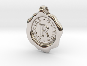 Seal Pendant R in Rhodium Plated Brass