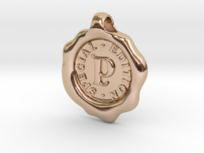 Seal Pendant P in 14k Rose Gold Plated Brass