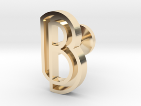 Letter B in 14k Gold Plated Brass