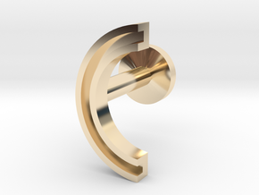 Letter C in 14k Gold Plated Brass