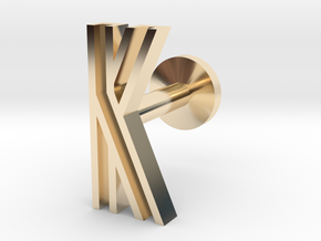 Letter K in 14k Gold Plated Brass