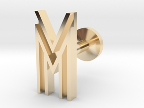 Letter M in 14k Gold Plated Brass