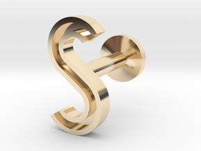 Letter S in 14k Gold Plated Brass