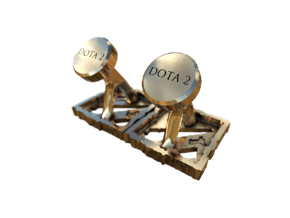 Dota 2 - Cufflinks - curved in Polished Brass