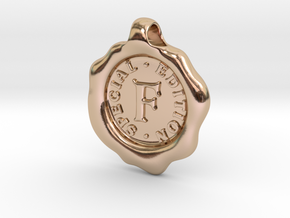 Seal Pendant F in 14k Rose Gold Plated Brass