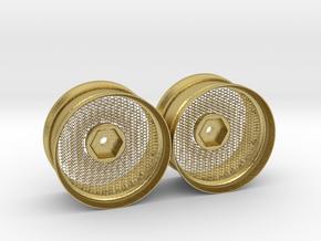 Hexagonal Grid Rim 1:10 Scale X2 in Natural Brass